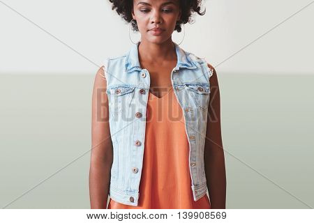 Thoughtful Young Woman In Stylish Casuals