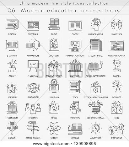 Vector Modern education ultra modern outline line icons for web and apps
