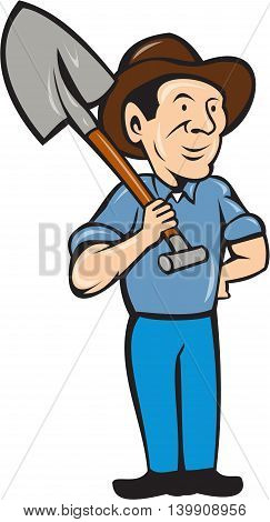 Illustration of an organic farmer standing with one hand on hips holding shovel on shoulder looking to the side viewed from front set on isolated white background done in cartoon style.