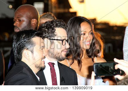 Justin Lin, J.J. Abrams and Zoe Saldana attend at the Star TreK Beyond  premiere during Comic Con on July 20, 2016 at the Embarcadero Marina Park South in San Diego, CA.