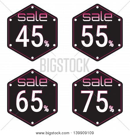 Sale discount labels. Special offer price signs. 45 55 65 and 75 percent off reduction symbols.