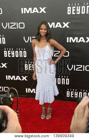 Zoe Saldana attends at the Star TreK Beyond  premiere during Comic Con on July 20, 2016 at the Embarcadero Marina Park South in San Diego, CA.
