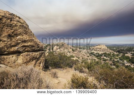 Los Angeles wild fire smoke engulfing the Stoney Point and San Fernando Valley.