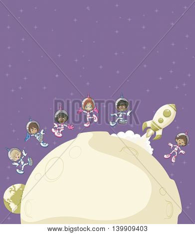 Astronaut cartoon children flying around and moon in purple space background.