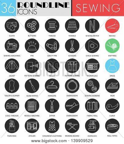 Vector Sewing circle white black icon set. Modern line black icon design for web