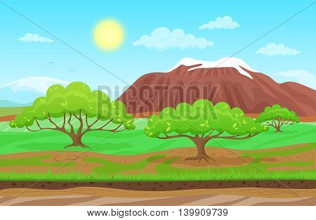 Cartoon nature spring summer landscape in sun day with grass, trees, cloudy sky and mountains hills. Vector Colorful game style illustration. Background for games