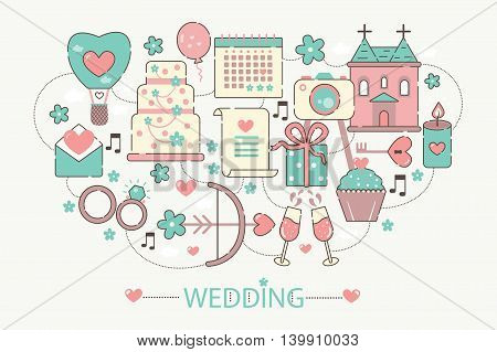 Modern graphic flat line design style infographics concept of Wedding with icons, for website, presentation and greeting card.