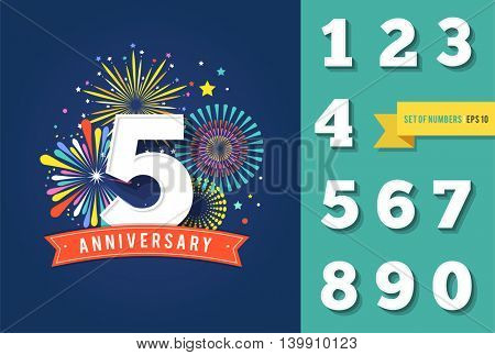Anniversary fireworks and celebration background, set of numbers