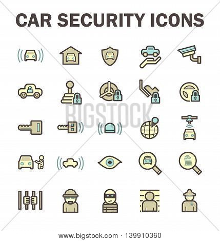 Car security and CCTV vector icon sets.