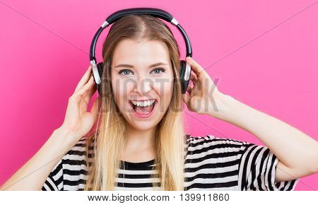 Happy Young Woman With Headphone