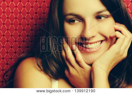 Pretty smiling happy teen girl