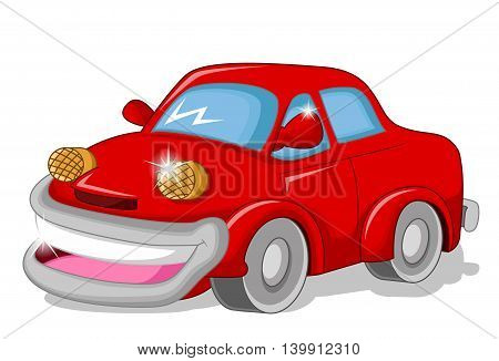 funny red car cartoon for you design