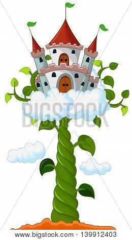 Bean sprout with castle in the clouds cartoon