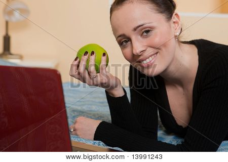 Young Woman With Laptop.