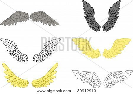 beauty angel wing set for your design