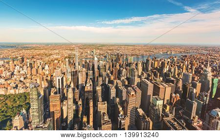 Aerial View Of Manhattan Looking East From Midtown