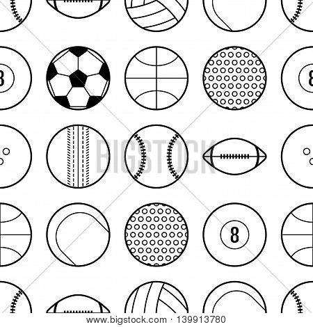 Seamless pattern with different sport balls. Flat icons and objects. Vector illustration