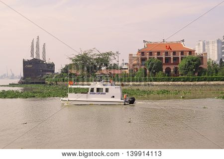 ‎June ‎20, ‎2016,ho chi minh city, vietnam: tourism boat and dragon wharf in saigon river
