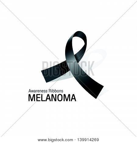 The Black Awareness Ribbons of Melanoma cancer Vector illustration.