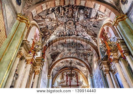 ATOTONILCO, MEXICO - DECEMBER 29, 2014 Frescoes Sanctuary of Jesus Atotonilco Mexico. Built in the 1700s known as the Sistine Chapel of Mexico with Frescoes of Jesus Stories. Frescoes by Miguel Antonio Martinez between 1740 and 1775.