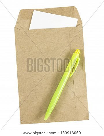 Pen and Brown envelope document with paper isolated on white background