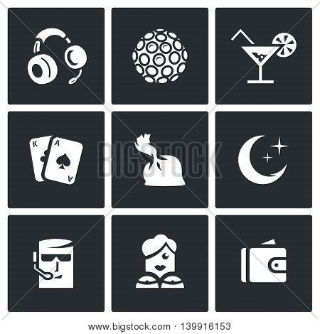 Headphones, Color music, Cocktail, Maps, Dose, Crescent, Man, Woman, Purse.