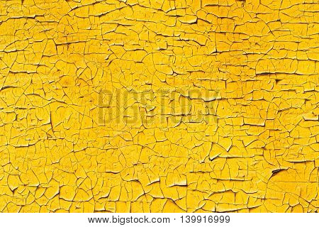 Yellow Painted And Cracked Wall Texture