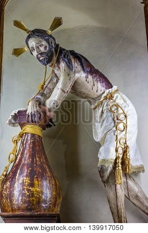 ATOTONILCO, MEXICO - DECEMBER 29, 2014 Senor de la Columna Jesus Whipped Sanctuary of Jesus Atotonilco Mexico. Built in the 1700s known as the Sistine Chapel of Mexico with Frescoes of Jesus Stories. Frescoes by Miguel Antonio Martinez between 1740 and 17
