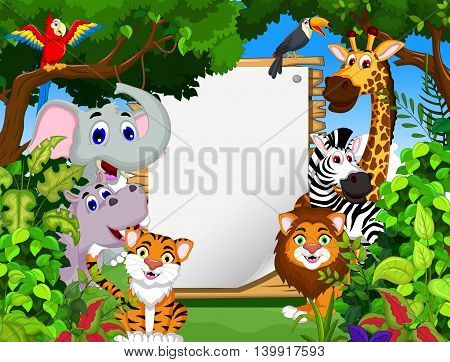 funny animal cartoon with blank sign and forest background