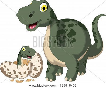 happy dinosaur cartoon smiling with her baby