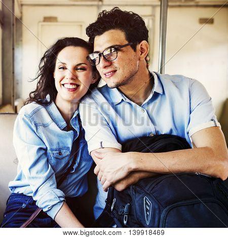 Couple Train Explore Happy Concept