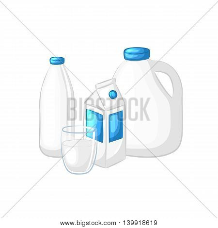 The milk and yogurt. A set of different packages: cardboard box, plastic bottle, canister, glass. Isolated objects on white background. Cartoon icons. Dairy product. Vector illustration.