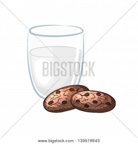 Milk in glass and chocolate chip cookies on a white background. Sweet pastry. Cartoon icon. Vector illustration.