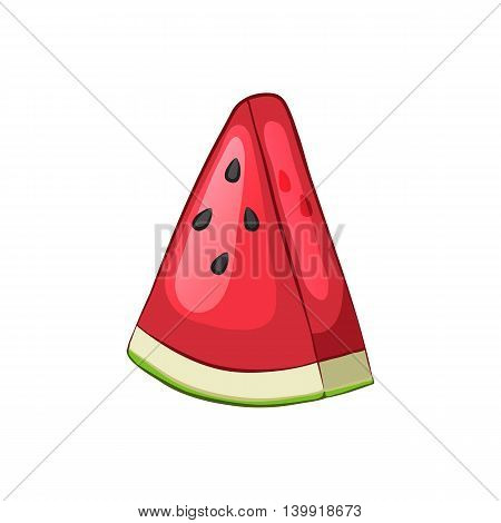 Sliced piece of watermelon. Isolated object on a white background. Cartoon icon. Vector illustration.