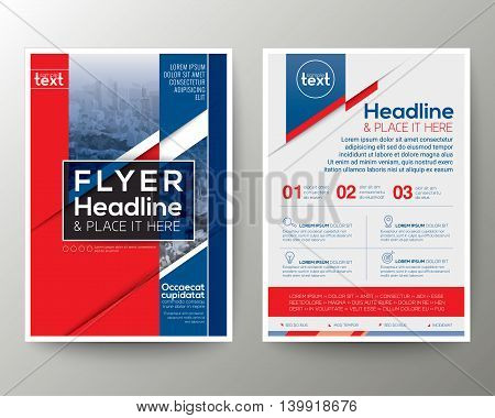 Red and Blue Poster Brochure Flyer design Layout vector template in A4 size