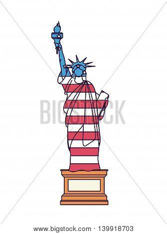 liberty statue with flag isolated icon design, vector illustration  graphic
