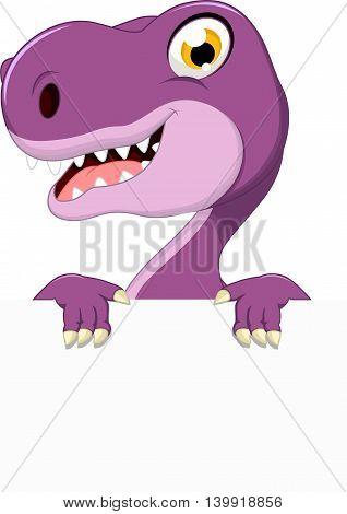 funny dinosaur cartoon holding a blank sign