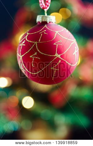 Christmas holiday background with ornament red bauble