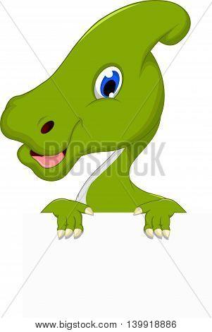 cute dinosaur cartoon holding a blank sign