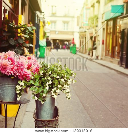 Flowers bouquet on street of Paris France