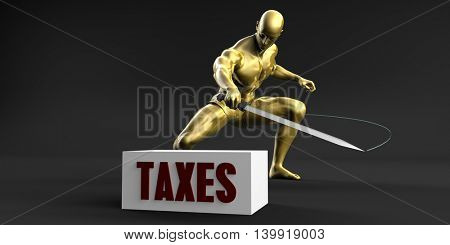 Reduce Taxes and Minimize Business Concept 3D Illustration Render