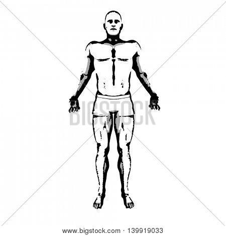Comic Book Hero Pose in Sketch Ink Illustration 3D Illustration Render