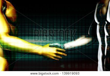 Closing a Deal or Beginning a Business Agreement 3D Illustration Render