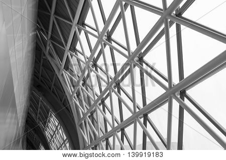 building construction of metal steel framework outdoors black and white tone