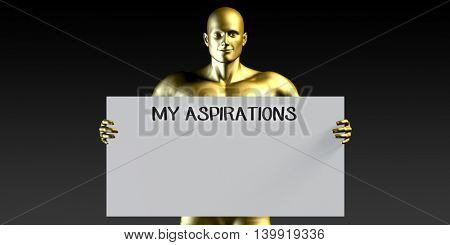 My Aspirations with a Man Holding Placard Poster Template 3D Illustration Render
