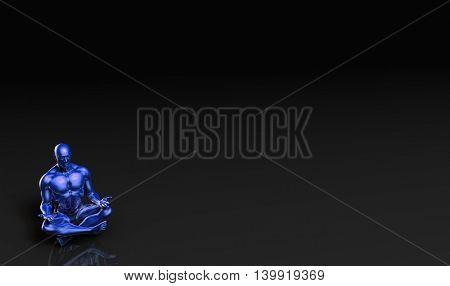 Illustration of a Male Figure Meditating in 3D Illustration Render