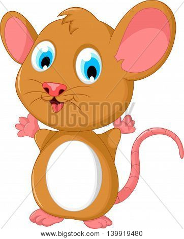 happy fat mouse cartoon posing for you design