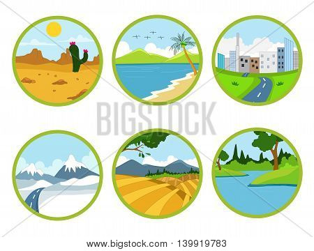 beauty landscape cartoon set for you design