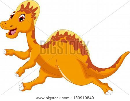 cute dinosaur cartoon running for you design