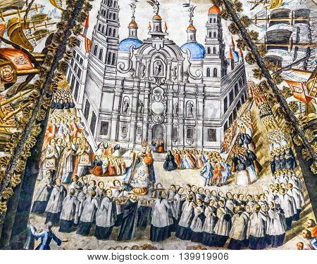ATOTONILCO, MEXICO - DECEMBER 29, 2014 Seville Spain Cathedral Spanish Fresco Sanctuary of Jesus Atotonilco Mexico. Built in the 1700s known as the Sistene Chapel of Mexico with Frescoes of Jesus Stories. Frescoes by Miguel Antonio Matinez between 1740 an